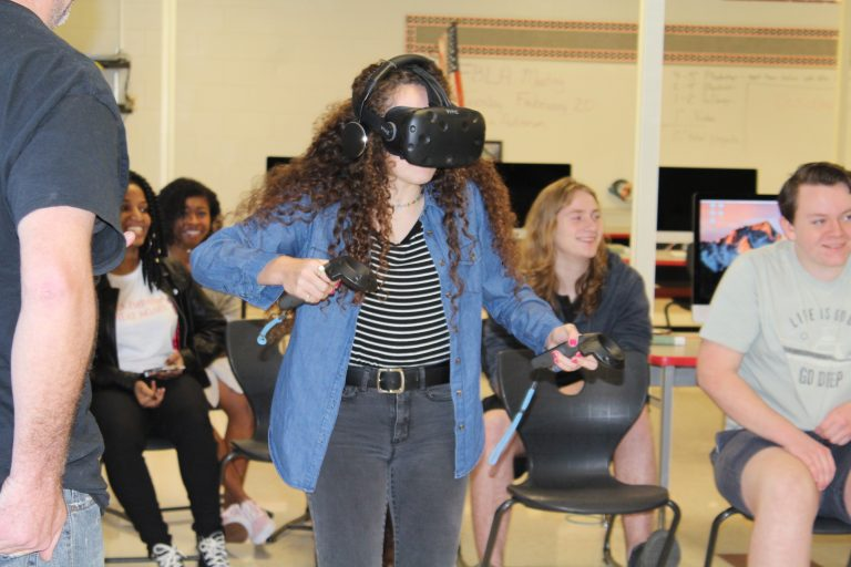 Students see how their work in the classroom is applied in virtual reality with a guest speaker from VR Escape Room.
